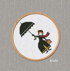 Cross Stitch Pattern Mary Poppins Counted Chart Scheme Easy Cute PDF | Tinyneedle - Patterns on ArtFire
