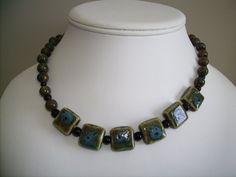 18 inch Olive and turquoise colored stone bead by lindaschiefer, $25.00