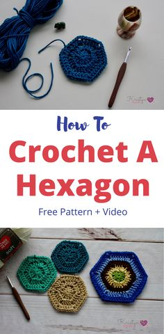 Learn how to crochet a hexagon in any size.  This tutorial includes photos, and video.