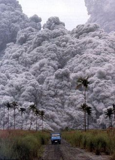 """""""A pyroclastic flow is a fluidized mixture of solid to semi-solid fragments and hot, expanding gases that flows down the flank of a volcanic edifice. These awesome features are heavier-than-air emulsions that move much like a snow avalanche, except that they are fiercely hot, contain toxic gases, and move at phenomenal, hurricane-force speeds, often over 100 km/hour. They are the most deadly of all volcanic phenomena""""... DRIVE MOFO!"""