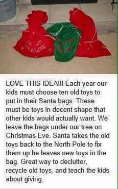 Ok, so obviously for my kids they'll need a new name. But what a great way to Declutter, Recycle old toys, Teach Children about giving, Christmas Eve Tradition All Things Christmas, Christmas Holidays, Christmas Decorations, Xmas, Christmas Ideas, Christmas Toys, Prim Christmas, Father Christmas, Retro Christmas