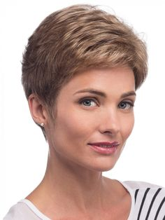 Find the Petite Kate Wig by Estetica Designs Wigs along with a wide selection of other brand-name wigs, hairpieces, hair extensions, hair enhancers & wig care Really Short Hair, Short Wavy Hair, Short Hair Cuts For Women, Short Hairstyles For Women, Hairstyles With Bangs, Cool Hairstyles, Hairstyles Videos, Braid Hairstyles, Hairstyle