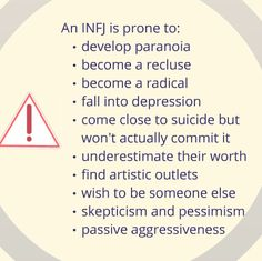 Myers Briggs INFJ personality type the dark side. Sad but sometimes true. I have definitely struggled with many of these at different times! Infj Mbti, Intj And Infj, Infj Type, Isfj, Infj Traits, Infj Personality, Myers Briggs Personality Types, Personality Profile, Personality Psychology