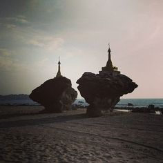 When in #Myanmar,  the #pagodas are everywhere! Even on the #beach. This is Ngwe Saung beach of Myanmar