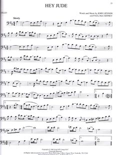 """Hey Jude"" the Beatles cello sheet music Partituras Trombone, Trombone Sheet Music, Cello Music, Piano Sheet Music, Music Music, Music Sheets, Indie Music, Soul Music, The Beatles"