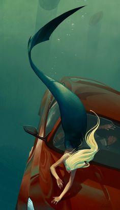 ArtStation - The Dive, Martin Mottet/// this picture has me inspired Magical Creatures, Fantasy Creatures, Sea Creatures, Mermaid Artwork, Mermaid Drawings, Mermaid Paintings, Watercolor Paintings, Siren Mermaid, Mermaid Tale