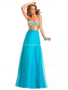 Rhinestones Sweetheart Blue Organza A-line Prom Dress - gopromdres.com