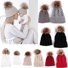 Mom And Baby Braided Crochet Wool Knit Beanie Beret Ski Ball Cap Women&Baby Hats