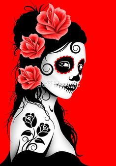 Red Day of the Dead Sugar Skull Girl   Jeff Bartels
