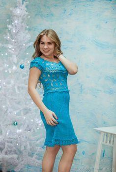 Купить Платье Бирюза - платье, ажурное платье, вязание на заказ, платье для нового года
