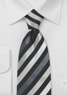 #bowsnties  Striped gray, white, and black silk tie... c'mon this would look incredible!