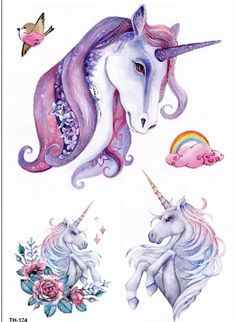 A temporary tattoo of 3 adorable unicorns with clouds and rainbows ... A colorful piece.. The tattoo measurement is 8 inches high by 6 inches wide itll be great for a large area of body such as an arm leg back or whatever to your liking. California buyers pays taxes of 8%... LOTS MORE