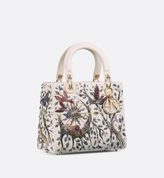 """Lady Dior medium flap bag in latte calfskin embroidered with the """"Earth"""" element, shoulder strap. Dior Handbags, Handbags On Sale, Purses And Handbags, Dior Bags, Dior Fashion, Fashion Bags, Fashion Accessories, Christian Dior, Luxury Bags"""
