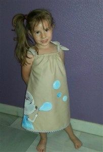 Vestido pintado,2-14 años, diseños exclusivos y personalizados