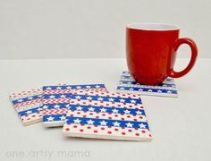 Patriotic Washi Tape Coasters
