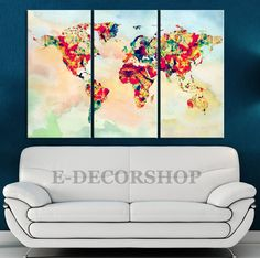 Rainbow Colour Canvas Print WORLD MAP on Watercolor Background - Triptych World Map 3 Piece Canvas Art Print - Colorful Mix World Map  #prints #printable #painting #canvas #empireprints #teepeat