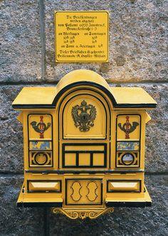 Old Mailbox in Innsbruck - Tyrol, Austria Antique Mailbox, Old Mailbox, Vintage Mailbox, Post Bus, Art Postal, You've Got Mail, Going Postal, Mellow Yellow, Mustard Yellow