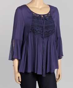 Look at this #zulilyfind! Navy Lace-Placket Ruffle Top - Plus by Wapi #zulilyfinds