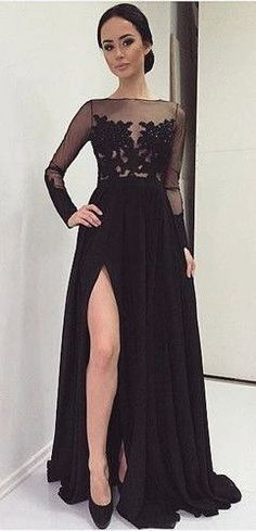 Elegant see-through lace top black chiffon modest prom dress with slit, long evening dress for prom 2016