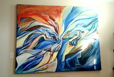 """Know of a display location or forever home for this piece?! email info@kbjoseph.com """"Cubist Creation of Adam""""  2012 6ft x 5ft Oil on Canvas #available #cubism #art"""