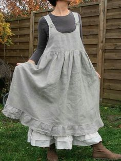 Grey linen apron jumper over white petticoat - vintage dressing Look Fashion, Girl Fashion, Fashion Outfits, Fashion Clothes, Vestidos Country, Linen Apron, Mode Boho, Apron Dress, Mori Girl