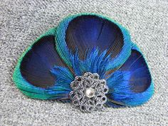 Peacock Feather Clip with Dark Silver Accent Piece and Rhinestone Custom Gift Boxes, Customized Gifts, Accent Pieces, Peacock, Feather, Buy And Sell, Dark, Metal, Silver
