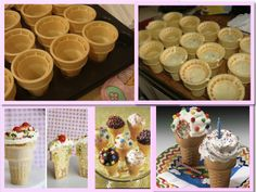 "ICE CREAM CONE CUPCAKES-Great for BBQ's, Birthday Party's or Just Because! Place 12 ice cream cones into Muffin Pan, Prepare favorite cake batter per instructions & add 2-3 TBLS Epicure's Summer Berry Fruit Dip (Cake mix's-double chocolate & confetti), fill each cone 2/3-3/4 full. Bake cones at 350 for 15-20 min, or until done. Remove from Oven & Cool before Frosting. (I use Betty Crocker ""Whipped Frosting's-White, Chocolate & Cream Cheese"") Frost & Decorate & Enjoy! (Sprinkles, gumdrops…"