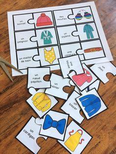 Les vêtements - puzzles, casse-tête, jeu de vocabulaire