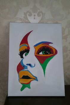 Colorfull Face Handmade Oil Painting On Canvas Drawings Art - Painting Simple Canvas Paintings, Small Canvas Art, Cute Paintings, Mini Canvas Art, Acrylic Painting Canvas, Canvas Canvas, Oil Paintings, Painted Canvas, Canvas Ideas
