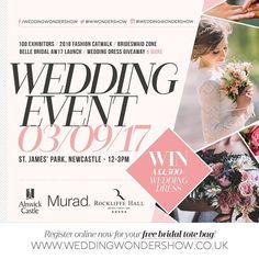 This Sunday will you be joining us??? The Wedding Wonder Show at St James Park! The first HUGE North East Wedding Event event of autumn 2017  100 Suppliers / 2018 Fashion Catwalk (featuring the latest dresses from the top boutiques in the region) / Bridesmaid Inspiration Zone / 1500 Wedding Dress Giveaway (must be won!) & muchmuch more!  Belle Bridal Magazinewill also be exclusively launching their fabulous new AW/17 Edition and its definitely not one to be missed! Grab your copy with your…