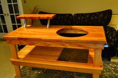 Big Green Egg Table- nice looking table Big Green Egg Outdoor Kitchen, Big Green Egg Table, Big Green Egg Grill, Green Eggs, Backyard Plan, Backyard Kitchen, Backyard Ideas, Bbq Shed, Grill Table