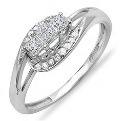 0.30 Carat (ctw) 10k White Gold Princess and Round Diamond 3 Stone Swirl Split Shank Promise Ring 1/3 CT -- For more information, visit now : Promise Rings Jewelry
