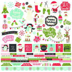 Simple Stories - Oh What Fun Collection - 12 x 12 Cardstock Stickers - Combo