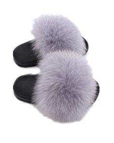LVCOMEFF Girls Toddler Real Fox Fur Sandals Slides Fluffy Fuzzy for Kid Child (Light Gray, Numeric_3)