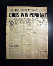 Great CHICAGO CUBS Win MLB NL Baseball PENNANT Display Headline 1935 Newspaper
