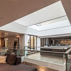 x skylight roller blinds in a new luxury house in Notting Hill. Blinds And Curtains Living Room, Ceiling Curtains, Floor To Ceiling Windows, Atrium Windows, Large Windows, Skylight Blinds, Blinds For Windows, Electric Blinds, Motorized Blinds