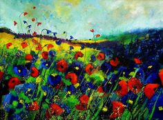 "Pol Ledent; Oil, 2013, Painting ""Blue and red poppies 68"""
