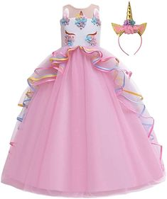 MYRISAM Unicorn Princess Costume Birthday Pageant Party Dance Performance Carnival Long Maxi Tulle Fancy Dress Up Outfits Pink Unicorn Dress Girls, Girl Unicorn Costume, Unicorn Clothes, Unicorn Outfit, Fancy Dress Up, The Dress, Birthday Dresses, Wedding Party Dresses, Dresses Kids Girl