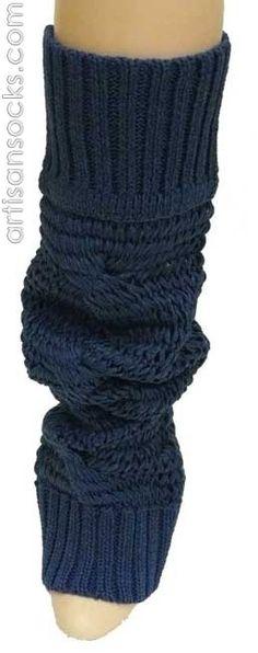 Lara Kazan Spring Legs Cotton Blue Loose Knit Leg Warmers from Artisan Socks www.artisansocks.com