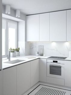 minimalist kitchen All white kitchen inspiration, with fingerpull doors and drawers Home Decor Kitchen, Rustic Kitchen, Interior Design Kitchen, Kitchen Ideas, White Kitchen Interior, Apartment Kitchen, Tiles Design For Kitchen, Apartment Interior, Kitchen Colors