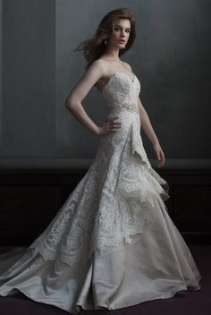 Marisa 105 bridal gown sweetheart lace with satin underskirt.