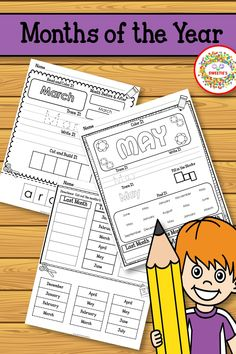 Learn the months of the year with these 4 sets of worksheets. Learning Resources, Teaching Ideas, Kindergarten Blogs, School Reviews, Learn To Spell, Teacher Organization, Worksheets For Kids, Literacy Centers, Months In A Year