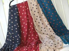 Super soft, super cute polka-dot scarves in beautiful Fall colors! Just $14.99 @ www.facebook.com/ReallyRoxie