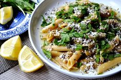 Halloumi pasta with lemon and mint
