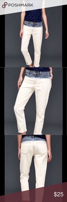 GAP Sexy Girlfriend Dip-Dyed Ombré Ivory Jeans Unique jeans that fade from blue at the waistband to creamy ivory. Loose fit, ankle length. Never worn! True to size. GAP Jeans