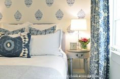 Stenciled Feature Wall | Indian Paisley Wall Stencil from Royal Design Studio | Project by Classic Casual Home http://www.classiccasualhome.com/2013/03/orc-finale-blue-white-guest-room.html