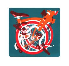 Large Turquoise Orange & Red Folded Brompton Screen Print by Diana Powell at The Bristol Shop