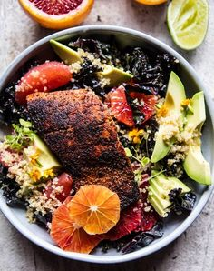 Make this glowing citrus, avocado, quinoa and blackened salmon salad for lunch this week. You'll be glad you did.
