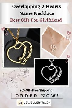 If you are interested in a very special gift just made for you, so you need to check out this fabulous 2 Hearts Personalized Name necklace ! It is everything you dream of for a very unique personalized birthday gift , best friends personalized gift, or a personalized gift of love ! We offer a hot deal of 26%Off+Free Shipping for limited time ! Order now ! Fashion Jewelry Necklaces, Women's Jewelry, Jewelry Accessories, Fashion Accessories, Dyi, Beautiful Promise Rings, Thing 1, Handmade Beaded Jewelry, Christmas Gifts For Mom