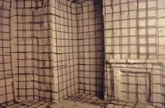 Grid work interior of 'House', with reinforcing rods, 1993, Rachel Whiteread.